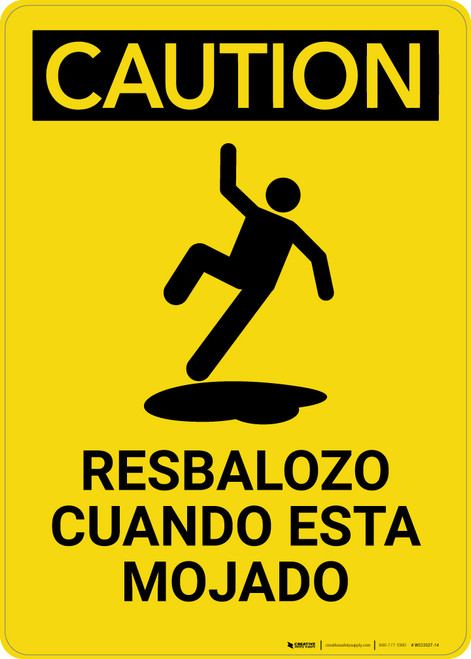 Caution: Floor Slippery When Wet Spanish Portrait With Graphic - Wall Sign