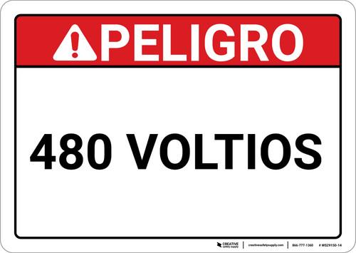 Danger: Spanish 480 Voltios - Wall Sign