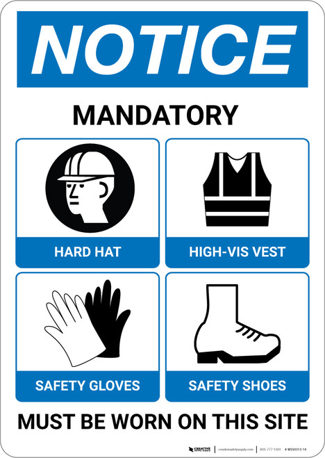 Notice: Required PPE Must Be Worn On Site - Wall Sign