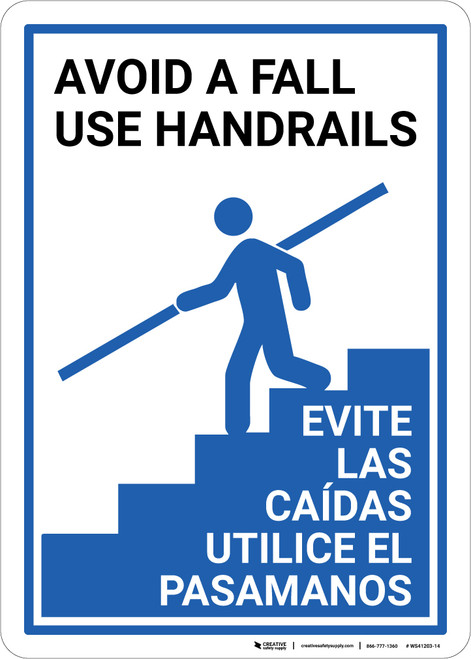 Avoid Fall Handrails Bilingual Spanish - Wall Sign