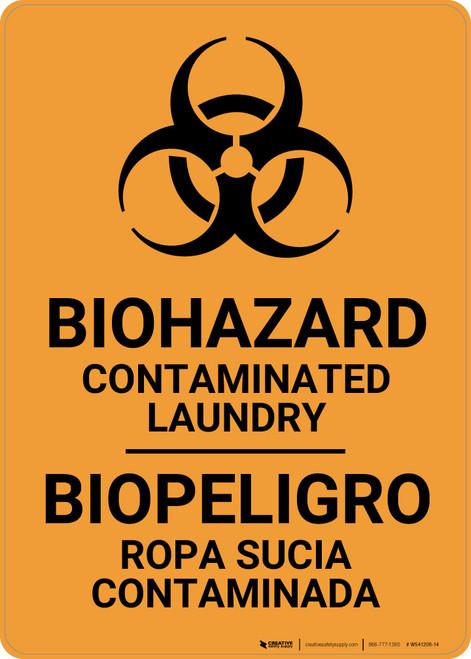 Biohazard: Contaminated Laundry Bilingual Spanish - Wall Sign