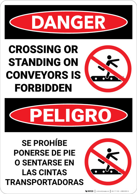 Danger: Crossing Standing On Conveyors Is Forbidden With Icons Bilingual Spanish - Wall Sign