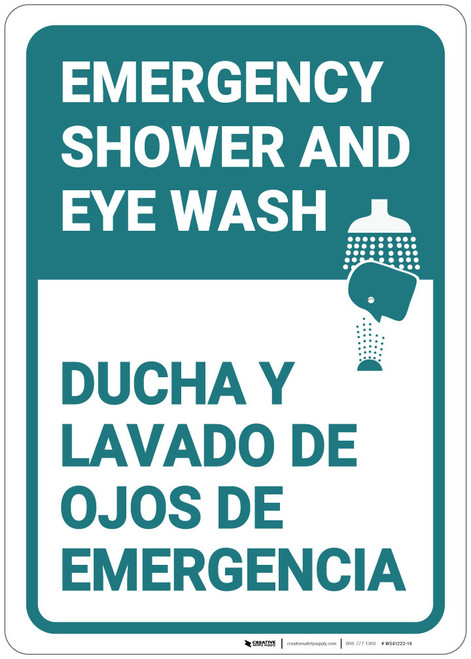 Emergency Shower Eye Wash Portrait Bilingual Spanish - Wall Sign