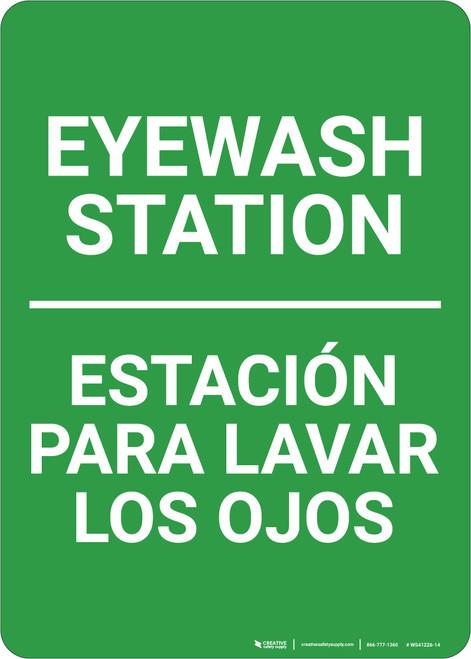 Eyewash Station Portrait No Icon Bilingual Spanish - Wall Sign