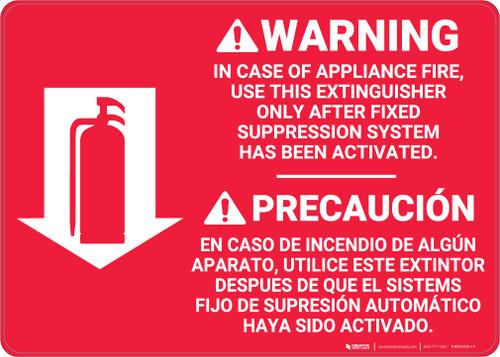 Fire Extinguisher Instruction Warning Bilingual Spanish - Wall Sign