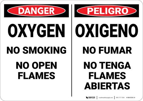 Warning: Hazard Oxygen No Smoking Bilingual Spanish - Wall Sign