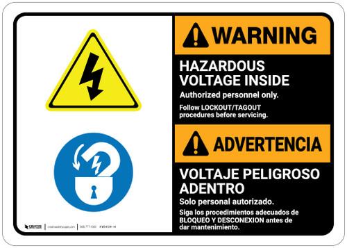 Warning: Hazardous Voltage Follow Lockout Procedures Bilingual Spanish - Wall Sign