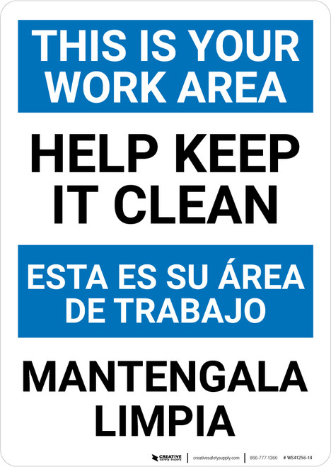 Housekeeping Clean Portrait No Bilingual Spanish - Wall Sign