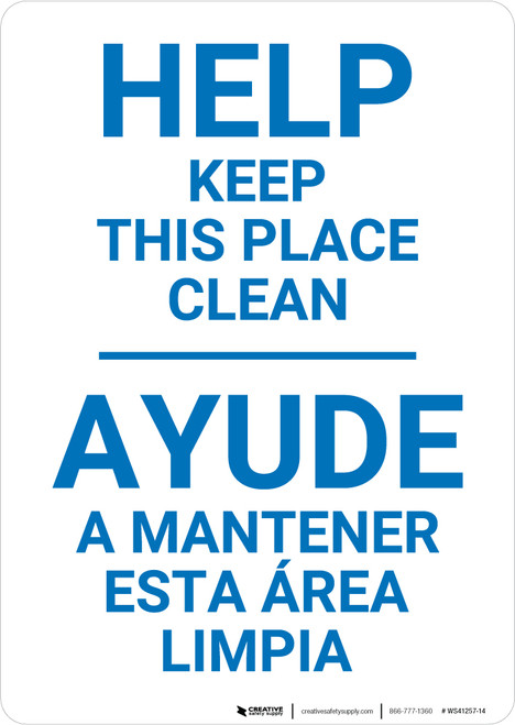 Housekeeping Clean Bilingual Spanish - Wall Sign