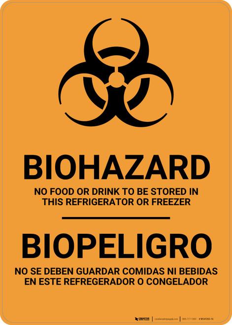 Biohazard: No Food Stored In Refrigerator Bilingual Spanish - Wall Sign
