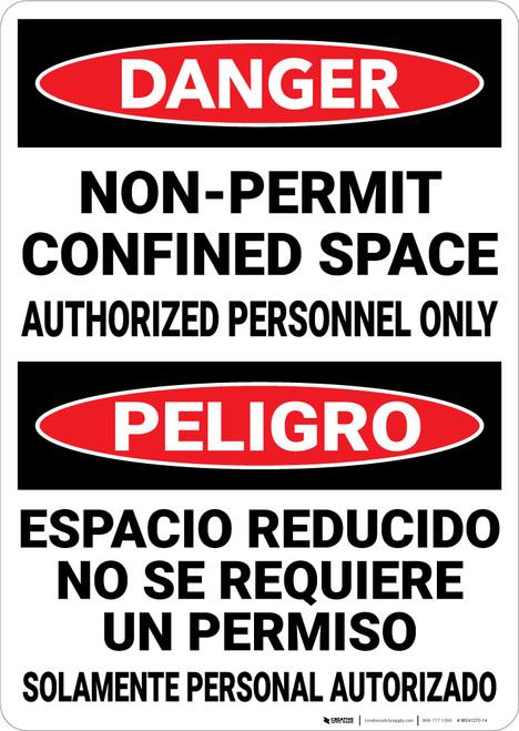 Danger: Non Permit Confined Space Bilingual Spanish - Wall Sign