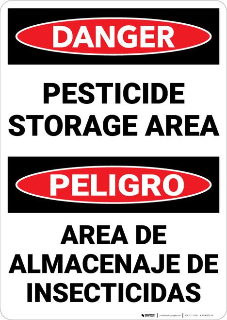 Danger: Pesticide Storage Area Bilingual Spanish - Wall Sign