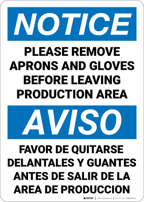 Notice: Please Remove Aprons Gloves Before Leaving Bilingual Spanish - Wall Sign