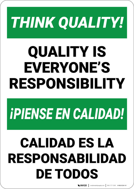 Think Quality Bilingual Spanish - Wall Sign