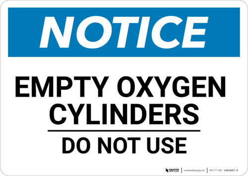 Notice: Empty Oxygen Cylinders - Wall Sign