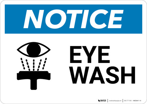 Notice: Eye Wash with Icon - Wall Sign