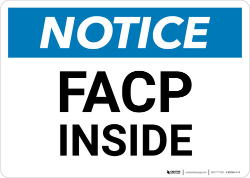 Notice: FACP Inside - Wall Sign