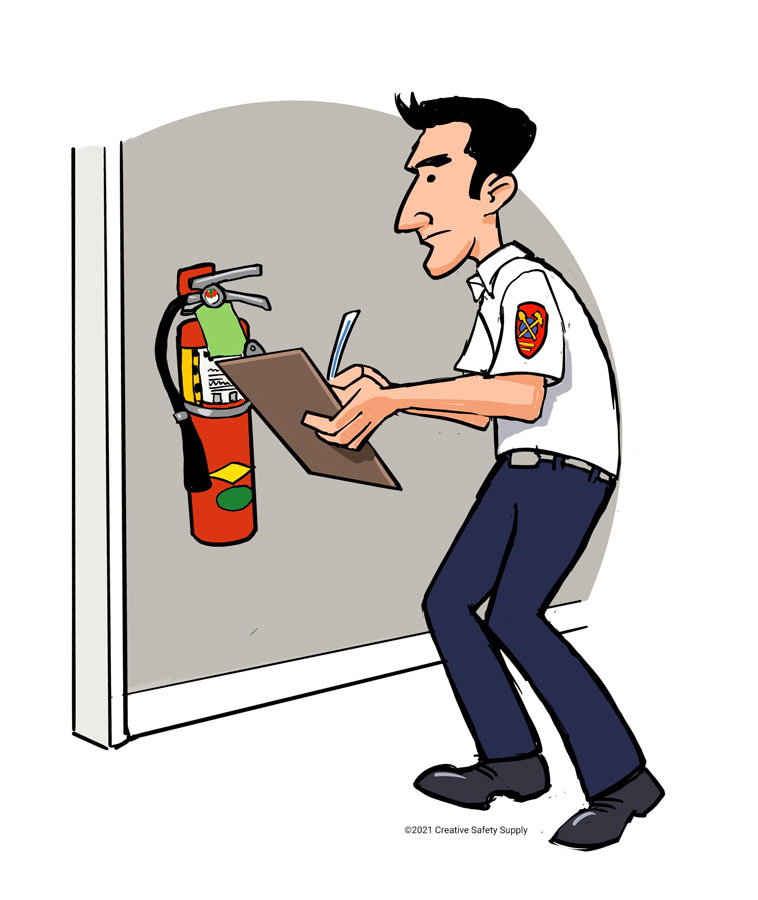 Man with clip board and fire department seal on sleeve checking a fire extinguisher, making sure it's up to code.