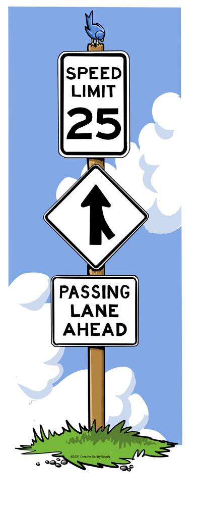 Black and white traffic signs