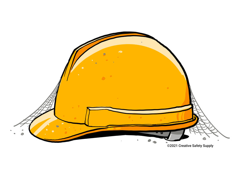 Illustration of a dusty hardhat with cob webs in profile view.