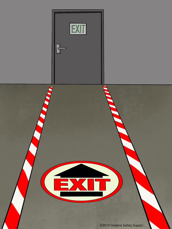 Floor marking for an emergency exit