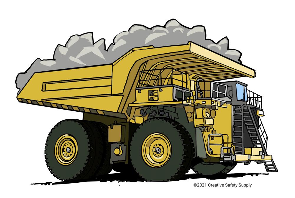 Mining dump truck with rocks