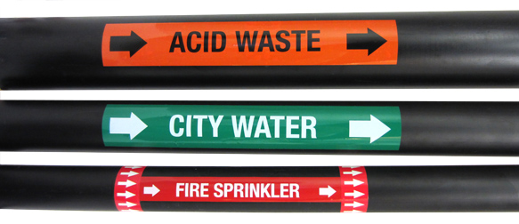 Acid Waste Pipe Labels