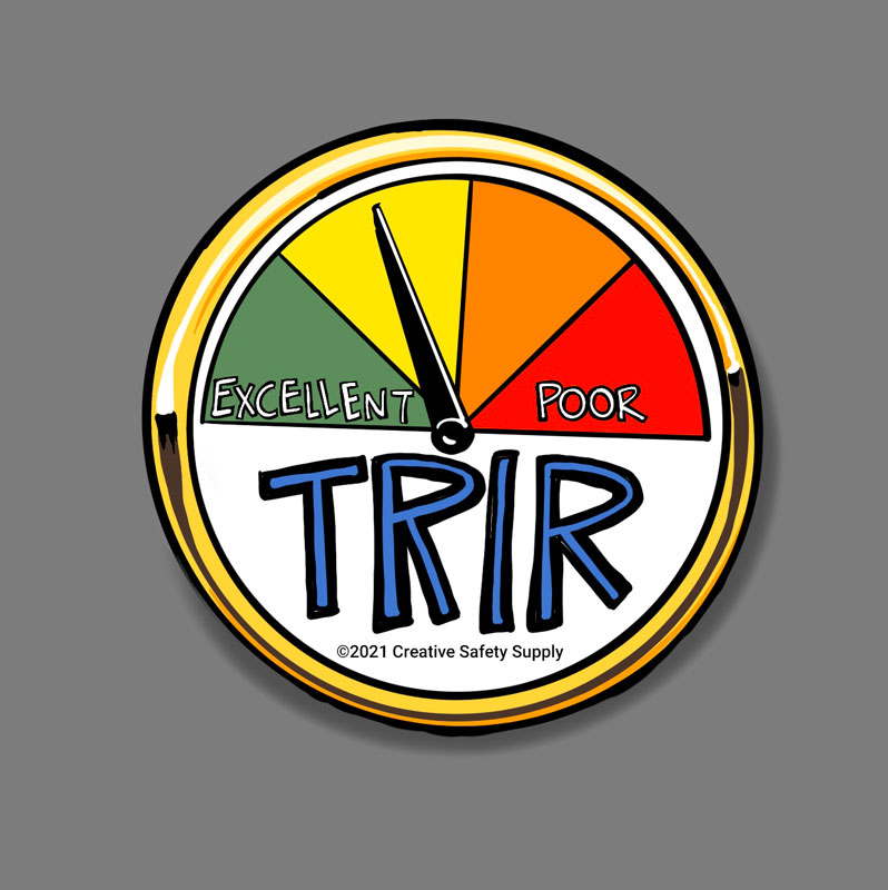 A TRIR guage with a green, yellow, orange, red scale. Green is listed as Excellent. Red is listed as Poor.