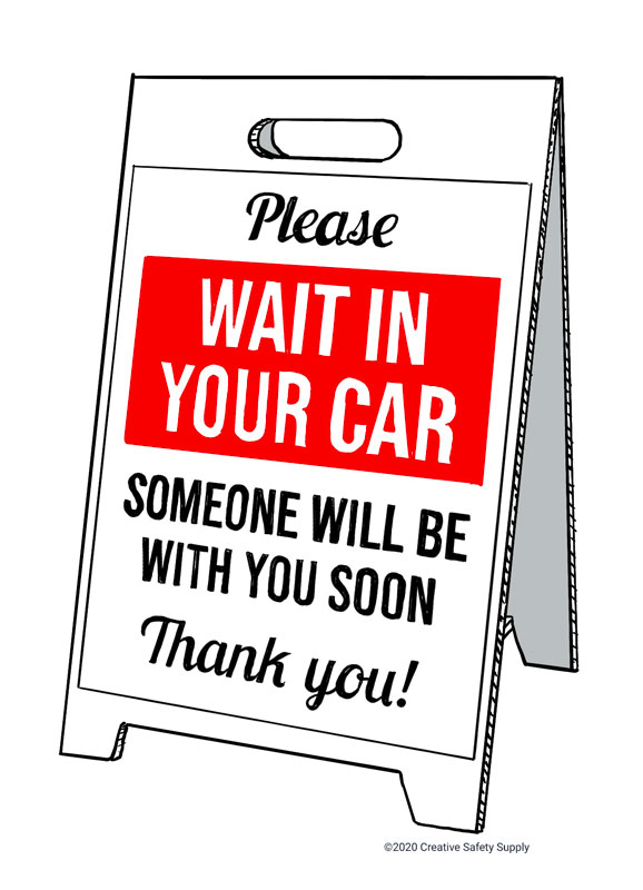 Please Wait in Car A-Frame Sign