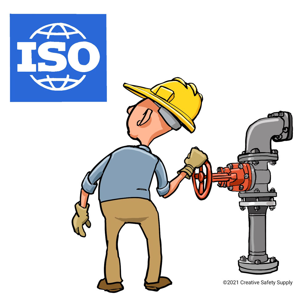 ISO logo and worker