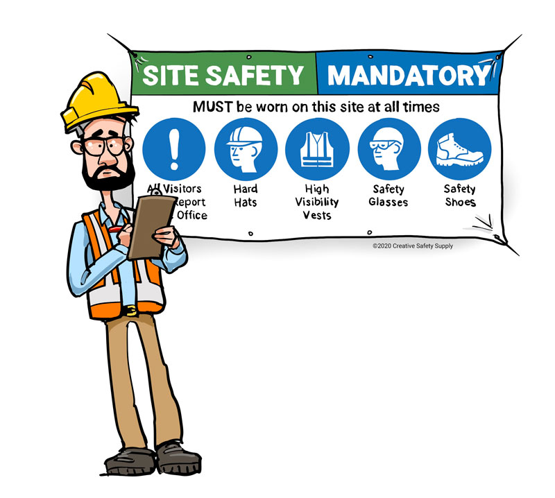 PPE banner and worker