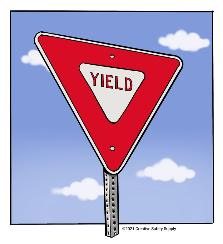 An illustration of a red and white yield sign with a sky and cloud background