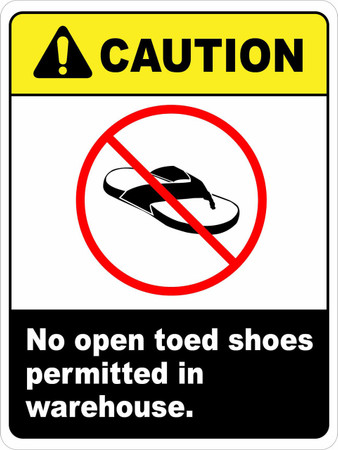 Ansi Caution No Open Toed Shoes Wall Sign