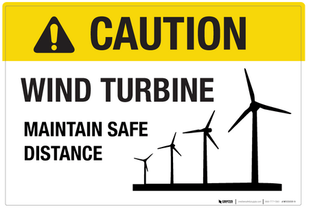 Caution Wind Turbine Wall Sign