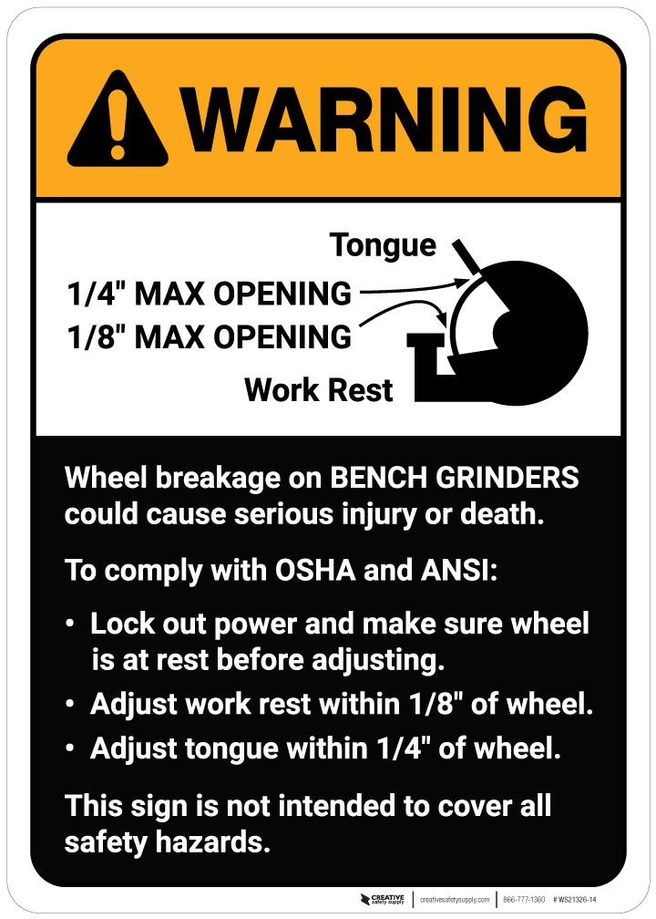 Warning: Wheel Breakage/Bench Grinder Guidelines ANSI - Wall Sign