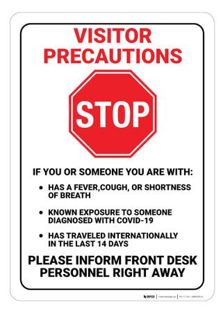 Visitor Precaution Covid 19 Wall Sign Creative Safety