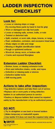 Ladder Inspection Checklist Adhesive Creative Safety