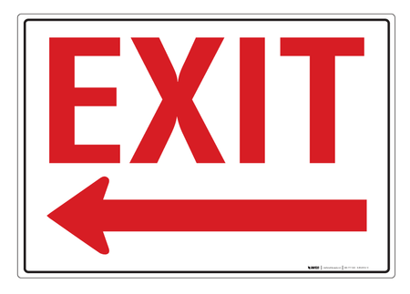 Exit Arrow Left Wall Sign Creative Safety Supply
