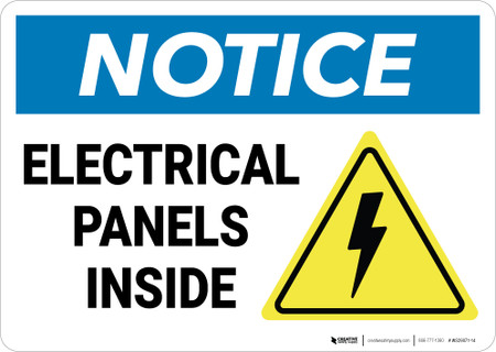 Notice Electrical Panels Inside With Graphic Wall Sign