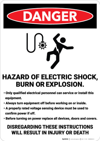 Danger Hazard Of Electric Shock Burn Or Explosion Wall
