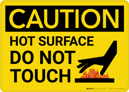 Caution Hot Surface Do Not Touch Warning Wall Sign