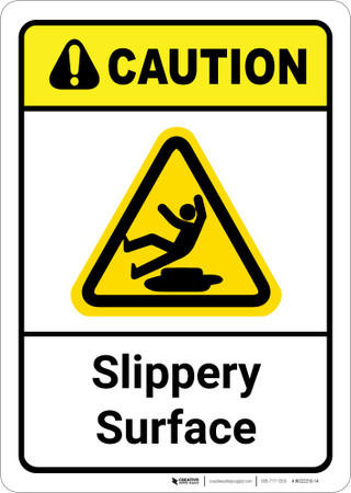 Caution Slippery Surface Ansi Wall Sign Creative