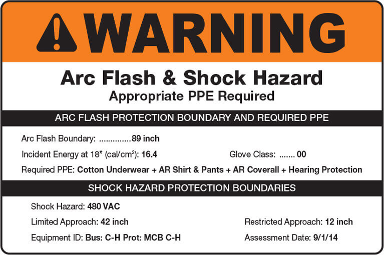 Arc flash and shock hazard label example