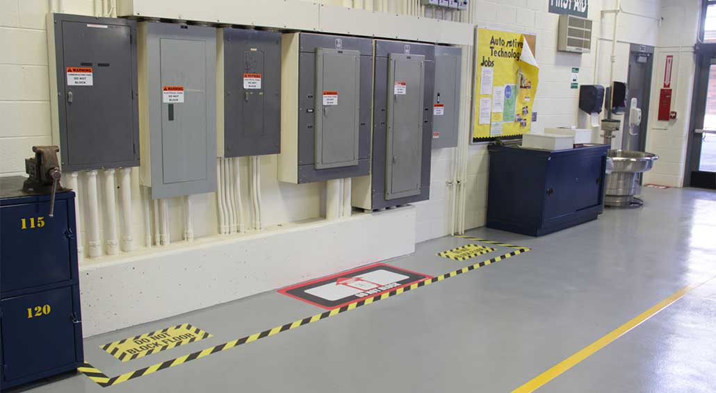 Floor Marking for Electrical Panel Compliance on electric panels and disconnects, nfpa electrical panel clearance, osha electrical panel clearance, eletric tape panel clearance, nec panel clearance, national electrical code panel clearance,