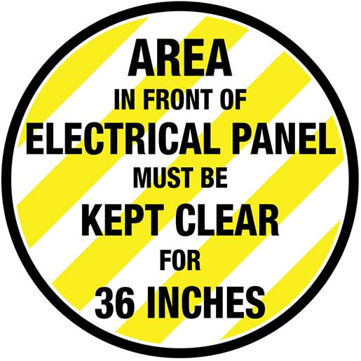 Floor Marking for Electrical Panel Compliance on garage space, solar panel space, roof space, electrical wiring, heater space,