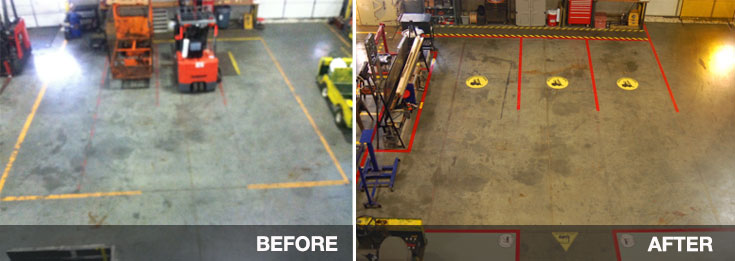 Parking Spaces marked with floor tape - before and afer