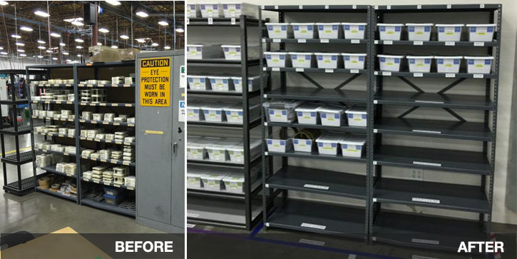 Orion Aerospace before and after - labeled bins