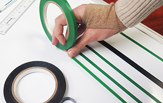Using vinyl tape to create solid lines for charts