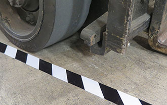 Hazard Striped Smart Tapes resistant to traffic