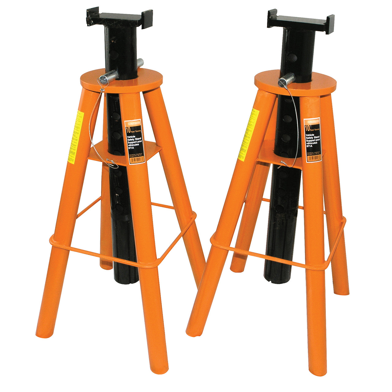 1 Pair Red Adjustable Height Stark 10-Ton Pin Type Jack Stands High Height 20,000 lb Weight Capacity